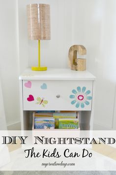 My Creative Days: Get your kids involved with decorating their room with this DIY nightstand the kids can do.