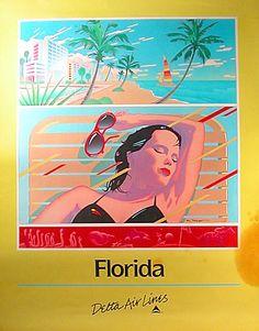 Florida - Delta Air Lines 1986, Woman sunbathing, South beach Ocean Drive scene - Artwork by Bob Radigan