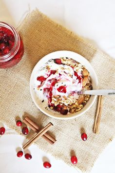 Breakfast Bowl with homemade cranberry compote