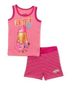 Pink & Purple 'Lippy Lips' Tank Pajama Set - Girls