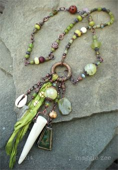 Green Tara Healing Amulet Shaman Talisman Necklace by maggiezees