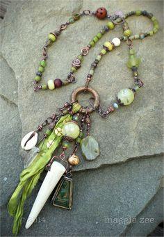 Green Tara Healing Amulet Shaman Talisman Necklace by maggiezees, $245.00