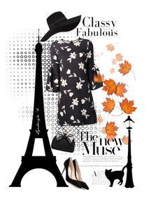 """black elegance with orange background"" by lyudmyla ❤ liked on Polyvore featuring Carolina Herrera, Jimmy Choo, Miss KG and San Diego Hat Co."