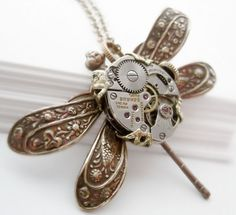 SteamPunk necklace, steampunk dragonfly with mechanical body, steampunk jewelry. $75.00, via Etsy.