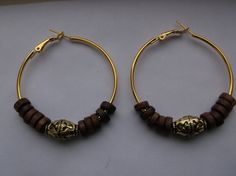 Gold Plated Hoop Earrings w/Boxwood & Antique Gold by DeeCreative1, $5.25