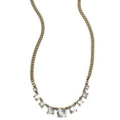 """*Petite Round Stone Necklace* Multi-sized clear rhinestones on a curb chain in a stunningly simple vintage-inspired layering necklace. Hangs from lobster clasp with 2"""" extender and c+i bird logo tag $42"""