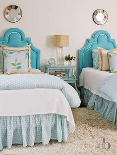 turquoise headboards | Jessica Bradley Interiors
