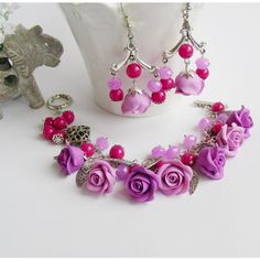 Purple Rose Flower set Sharm set Jewelry set Polymer clay ($45) ❤ liked on Polyvore featuring jewelry