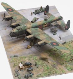 Avro Lancaster Mark I, L7540 'OL-U', of No. 83 Squadron RAF's Lancaster Conversion Flight, normally based at Scampton, Lincolnshire. 1/72 Revell kit, figures -- Airfix & Zvezda, other -- scrapbooking
