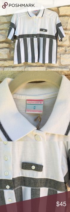 """Vintage Lady Footlocker Striped Button Down Polo Ugh. This is the coolest. It was actually going to be mine, I even had the shoulder pads taken out. Alas, I'm a bit too busty for it.   Vintage Lady Foot Locker striped polo button down in white/gray. Size medium, boxy fit - check the measurements. Total 80s/90s gold. Great condition, no major flaws to note, some very minor pilling towards bottom hem.  Measurements:  21"""" long 20"""" across chest  19.5"""" across waist Vintage Tops Button Down Shirts"""