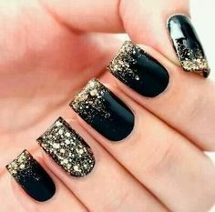 Gold, black, glitter nails love