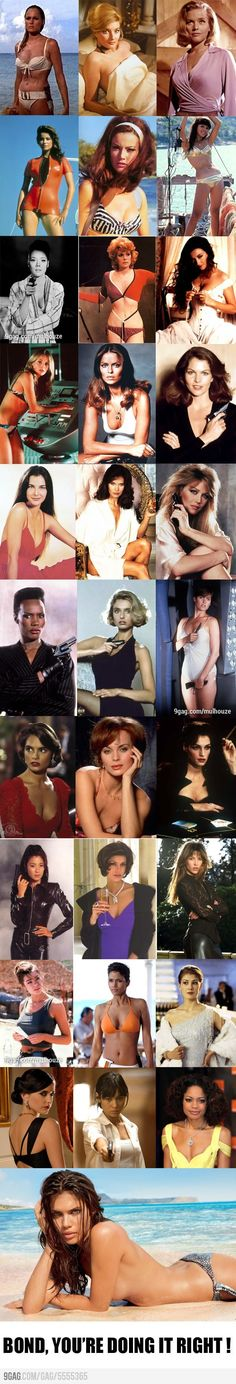 Check Out This Super Collage Of Bond Girls - Front Page Buzz James Bond Girls, James Bond Style, James Bond Theme, James Bond Party, James Bond Movies, James Bond Actors, James Bond Books, Sean Connery, Chicas Bond