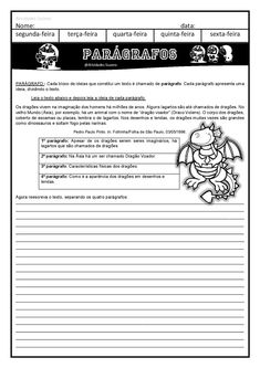 4º ano paragrafo e texto com interpretação EM PDF | Atividades Pedagogica Suzano Writing Strategies, Professor, Activities, Education, Image, Writing Activities, Continents And Oceans, Dyslexia, Places