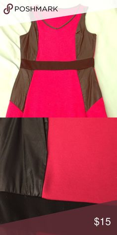 CLEARANCE: Red and leather bodycon dress Worn twice Dresses Mini