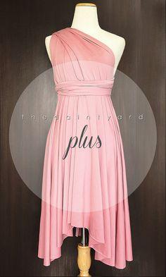 Plus Size Blush Bridesmaid Convertible Dress Infinity Dress Multiway Dress Wrap Dress Pink Wedding Dress