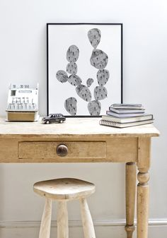 Work desk - cactus print by Polly Rowan