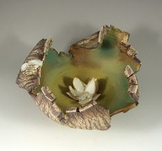Ceramic Sculpture with Flower  Tiny Forest by PatParkerCeramicArt