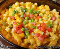 Queso Potatoes this would be great with bacon and eggs, or in a breakfast burrito