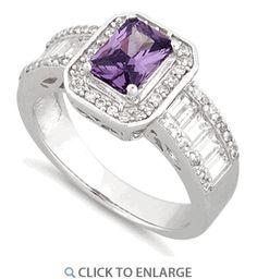 Sterling Silver Emerald Cut Amethyst Clear CZ Ring