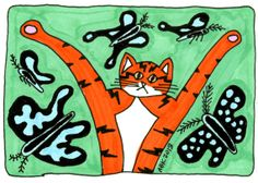 Cat Art ACEO Print  Orange Cat Butterflies on Green by AmyBlueKat, $5.00