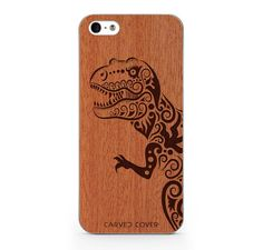 Dinosaur iPhone 5 Wood Clear Case by CarvedCover