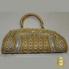 Clutch purse - gold color with rhinestones, crystal, gold color beads, and silk thread handles Handbag Online, Purses Online, Designer Purses, Silk Thread, Clutch Purse, Canada, Usa, Crystals, Bags