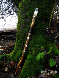 Crystal Staff Rose Quartz Aventurine Oak Leaves Acorns Celtic Walking Stick MISTRESS of The FOREST