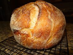 No Knead Dutch Oven Bread - active dry yeast - flour - may use whole wheat or combo of all purpose and whole wheat - salt - cornmeal or wheat bran for dusting
