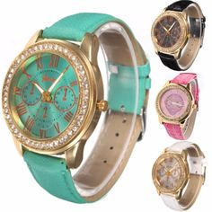 Casual Women Crystal PU Leather Band Analog Quartz Wrist Watch