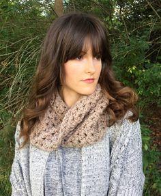 Light Brown Knit Cowl Scarf Eternity Infinity by KnittingWonders