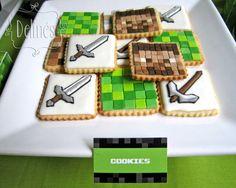 Cumple de Tomi y Pepe con temática Minecraft, un video juego de construcción con bloques… Mesa dulce, ambientación y decoración temática. Banner, cartel, backdrops lisos y con guirnalda de ti…