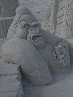 Gorilla sand sculpture - Siesta key - Florida by Cycling the world, via Flickr