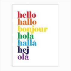 Hello Hallo Rainbow Art Print by The Little Jones - Fy