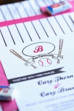 Their Invite- Baseball themed wedding invitation suite by paperdollsdesigninc, $5.50