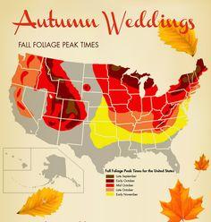 Peak Times For Beautiful Fall Foliage Map Mountain Wedding Lake Tahoe
