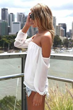 Chiffon Off the Shoulder Top.
