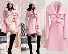 8f60963d61ee New arrival Sweet Women Pink Wool Parka Trench Coat Jacket Slim fit high  stretched Gossip Gir