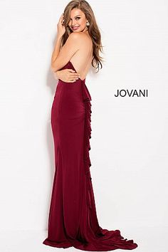 8f5c0015f5 Burgundy Fitted Ruffle Back Prom Dress with Train 48078  HalterDress  Jovani   Prom2018