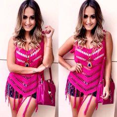 Blusa Regata Trico Croche Franja Diversas Cores Verão 2015 - R$ 59,99 no MercadoLivre