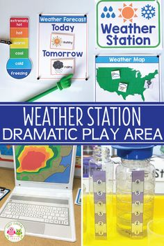 Your kids will have fun learning about the weather when you set up a weather station dramatic play area. Encourage pretend play, math, science, and literacy learning with these ideas and printables. Perfect for a weather theme unit or lesson plans in your Weather Activities Preschool, Science Center Preschool, Weather Science, Science Activities, Weather Unit, Dramatic Play Themes, Dramatic Play Area, Dramatic Play Centers, Preschool Dramatic Play