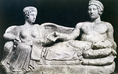 Youth and Demon of Death; Etruscan Cinerary container; Stone (cinerary container)