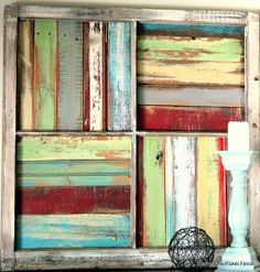 """This says old beach cottage to me, love it!  If you don't have old picket fencing to use, try some scraps of cheap tongue and groove paneling, use your own choice of paint colors. Leave the paint undiluted, and swipe it on using a dry brush, dipped, ever-so-lightly, in the paint. """"Beyond The Picket Fence: Window Salvage"""""""