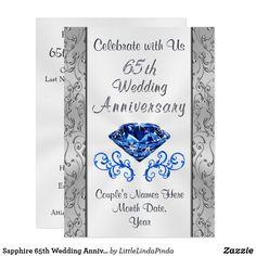 Sapphire 65th Wedding Anniversary Invitations