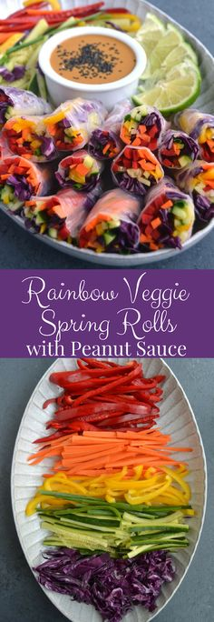 Rainbow Veggie Spring Rolls with Peanut Sauce Rainbow Veggie Spring Rolls with Peanut Dipping Sauce are loaded with red pepper, carrots, yellow peppers, cucumber, green onion and red cabbage and dipped in an easy peanut sauce for the perfect appetizer. Spring Roll Peanut Sauce, Easy Peanut Sauce, Peanut Dipping Sauces, Spring Roll Dipping Sauce, Vegan Peanut Sauce, Peanut Sauce Recipe, Raw Food Recipes, Vegetarian Recipes, Healthy Recipes