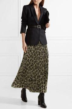 400397301f Haider Ackermann - Pleated printed silk-blend lamé maxi skirt