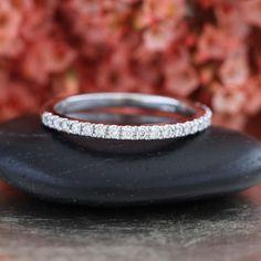Petite Diamond Wedding Ring in 14k White Gold Half Eternity Band Women Wedding Band Diamond Anniversary Ring Stackable Ring