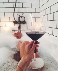 to relax.baths are now a treat. Best served with wine (white or rose), only candles for lighting, Enya or Bethel Music playing and bubbles or a bath bomb. In Vino Veritas, Spa Day, Bath Time, Belle Photo, No Time For Me, Red Wine, Life Is Good, The Best, Bubbles