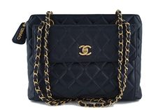 Chanel Black Caviar Classic Quilted Flap Shopper Tote Bag