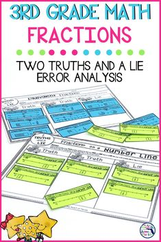 Combining fun, fractions, and error analysis during math is a sure way to engage your students! This fraction activity's play on 2 Truths and a Lie will help your students practice these key fraction concepts: equivalent fractions, unit fractions, fractions on a number line, and fractions greater than one. This quick print and go resource is perfect for centers, rotations, early and fast finishers and small group practice.  #fractions #3rdgradefractions #fractionerroranalysis #fractions3rdgrade Fractions For Kids, 3rd Grade Fractions, Teaching Fractions, Equivalent Fractions, Third Grade Math, Teaching Math, Second Grade, Teaching Ideas, Fraction Activities