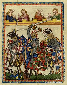 Medieval 'codex' - images in the Codex Manesse c 1300-1340. Heidelberg University archives. An online version of the manuscript is provided here: http://digi.ub.uni-heidelberg.de/diglit/cpg848